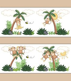 Monkey Wallpaper Border decals wall art baby boy jungle animal nursery or children's safari room decor. Monkeys hanging and swinging from tree to tree on a bright sunny day. Use as wall border or decals #decampstudios