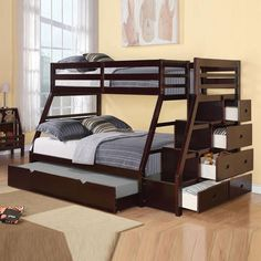 Acme Traditional Jason Espresso Stairway Chest Twin Over Full Bunk Bed with Trundle