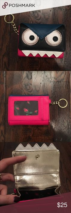 Betsey Johnson Monster Card Holder w/ Keyring Fendi inspired Betsey Johnson monster key holder with key ring. Large interior to store many cards and one smaller card slot under the snap closure. Space for ID on the back. Very slight wearing on one corner (can be seen in last photo). Betsey Johnson Bags Wallets