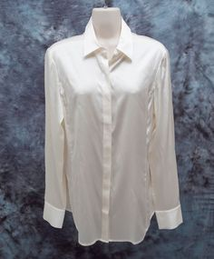 f4a099a8a3a45d $119 Ann Taylor Size 8 Ivory Silk Legacy Blouse Long Sleeve #AnnTaylor  #ButtonDownShirt #