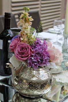 Vintage silver Tea Pot filled with Stocks, Roses, Hydrangeas and Sweet Peas Afternoon Tea Wedding, Vintage Silver, Flower Designs, Swan, Everything, Sweet Peas, Garden Roses, Table Decorations
