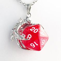D20 Dungeons and Dragons Inspired D20 Dice Dragon Claw Pendant Necklace Red Polyhedral Gaming Nerd L
