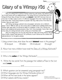 112 best diary of a wimpy kid activities images on pinterest diary of a wimpy kid reading passage freebie solutioingenieria Choice Image