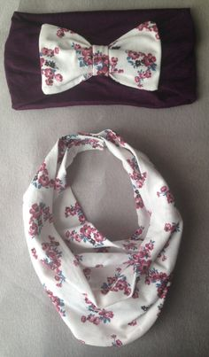 Purple Floral Baby Scarf Bib & Purple Bow Headband by AvileeBabyCo