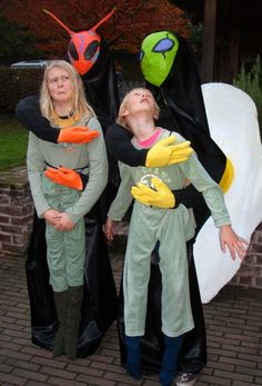 Really easy to make the cereal killer halloween pinterest two home made alien abduction costumes make it look as if aliens carry the ccuart Choice Image