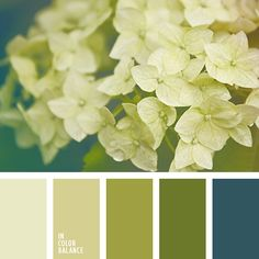 Color palette #1919: shades of yellow-green, light beige, transparent pink-gray complemented by warm muted blue