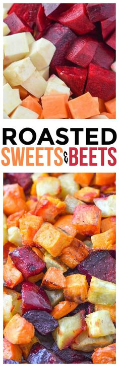 Beets and Sweet Potatoes Oven Roasted Sweet Potatoes and Beets using Coconut Oil. Healthy side dish recipes made easy and we love our root vegetable recipes via Roasted Sweet Potatoes and Beets using Coconut Oil. Cooked Vegetable Recipes, Vegetable Korma Recipe, Spiral Vegetable Recipes, Vegetable Samosa, Vegetable Pizza, Healthy Side Dishes, Vegetable Dishes, Side Dish Recipes, Vegetable Spiralizer