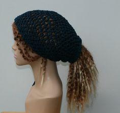 Eco Cotton slouchy beanie ponytail hat hippie by PurpleSageDesignz