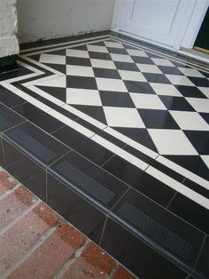 Victorian floor tiles gallery, Original Style floors, period floors - for front door step Porch Tile, Porch Flooring, Floor Tile Design, Entrance Porch, Black Front Doors, House Entrance, Front Door Steps, House With Porch, Victorian Porch