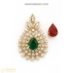 18K Gold Diamond Pendant with Color Stones - 235-DP463 - Buy this Latest Indian Gold Jewelry Design in 9.350 Grams for a low price of $2,167.90