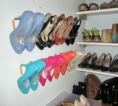 s 16 brilliant ways to squeeze much more into your closet, closet, organizing, storage ideas, Organize heels with wall trim Diy Shoe Storage, Diy Shoe Rack, Storage Hacks, Closet Storage, Storage Ideas, Boot Storage, Small Space Storage, Small Space Organization, Organizing Life