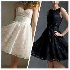 The bridesmaid dresses. Left one's color/right one's style.