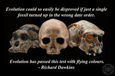 Evolution could so easily be disproved if just a single fossil turned up in the wrong date order. Evolution has passed this test with flying colours. ~Richard Dawkins