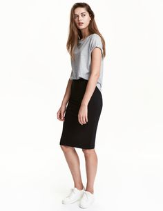 Check this out! Knee-length fitted skirt in jersey with elasticized waistband. - Visit hm.com to see more.