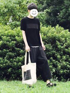 夏の涼しげな黒い服好きです。 黒い浴衣とか。 Tシャツ 1 パンツ S サンダル 41