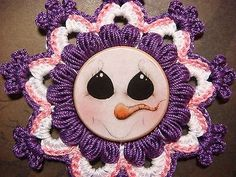 Crochet Snowflake  Cute Snowman Face Design Wood Button for Scrapbooks ByDeb