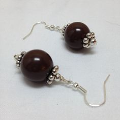 Chunky brown acrylic beads and silver spacer beads with silver fishhook ear wire. PURCHASE: https://admin.shoptab.net/linkbacks/203460483   Handmade Jewelry by Casual Elegant Fashions