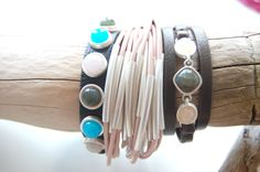 Leder-Armband mit Steinen, Armreifen in rosa, Leder-Armband #sence #copenhagen Copenhagen, Bracelets, Jewelry, Pink Leather, Bangles, Neck Chain, Jewlery, Jewels, Bracelet