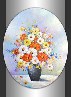 Original Still Life Floral Art Impasto Texture by ZarasShop