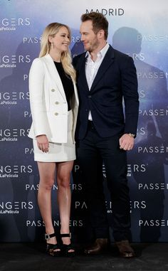 Jennifer Lawrence & Chris Pratt from The Big Picture: Today's Hot Pics  Cool co-stars! The pair attend a photo call for Passengers in Madrid.