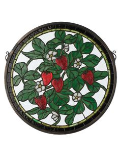 17 Inch W X 17 Inch H Strawberry Medallion Stained Glass Window - 17 Inch W X 17 Inch H Strawberry Medallion Stained Glass WindowLuscious Red cast glass Strawberries glisten from thelight on this charming Strawberry patch stained art glass window. The Meyda Tiffany original window has aclear textured background, with Heather Green leaves and tiny White flowers. Brass mounting bracket andchains are included. Theme: TIFFANY FLORAL FRUIT COUNTRY Product Family: Strawberry Medallion Product…
