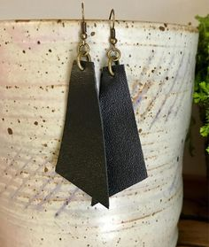 Black leather earrings black accessories asymmetrical