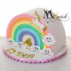 Uber cute combining rainbows and unicorns into the unique shaped cake from Moreish Cakes! Half Birthday Cakes, Chocolate Hazelnut Cake, Cloud Cake, Teddy Bear Cakes, Just Cakes, Pretty Cakes, Celebration Cakes, Themed Cakes, Cake Designs