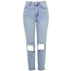 Women's Topshop Embroidered Ripped Mom Jeans ($90) ❤ liked on Polyvore featuring jeans, embroidered jeans, distressed jeans, high-waisted jeans, high rise jeans and high waisted jeans