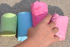 Homemade Sidewalk Chalk (double the recipe). Love this idea and being able to use household products! (minus the plaster of paris). very cool  http://www.pbs.org/parents/crafts-for-kids/homemade-sidewalk-chalk/
