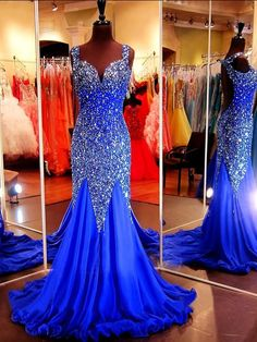 Sparkly Mermaid Sweetheart Open Back Royal Blue Tulle Beaded Prom Dress With Straps