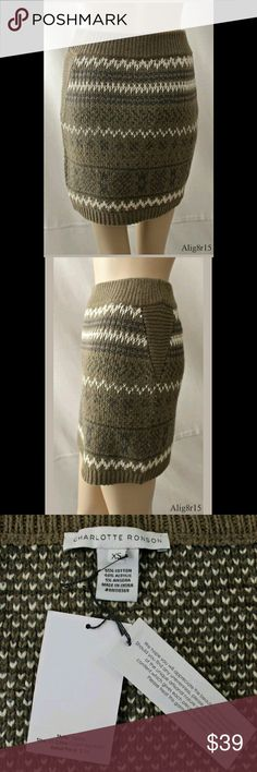 NWT $155 CHARLOTTE RONSON Sweater Knit Skirt, XS Sweater knit skirt with a fair isle print on the front and back.Dark beige with an olive green tint, with ivory and dark brown print.Ribbed elastic waist.Ribbed triangular side panels.Pull-on style with no zippers or buttons.Made of 55% cotton, 40% acrylic, and 5% angora; unlined.New with tags. MSRP $155. Waistband: Comfortably stretches from 12.25 inches to 15.5 inches across. Hips: 18.25 inches across. Length: 16.5 inches. Charlotte Ronson…