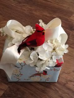 Spring Gift Wrapping red bird in nest #bird #giftwrapping #emballagecadeau