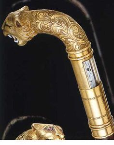 A 1900 lion cane with sliding panels for hidden watch, keyless winding by the revolving bezel Wooden Walking Canes, Wooden Walking Sticks, Walking Sticks And Canes, Cannes, Cane Handles, Cane Stick, Umbrellas Parasols, Antique Watches, Walk This Way