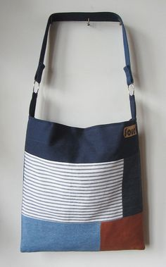 ON SALE On My Way Navy Blue Striped Denim and by Sourbagsandtotes