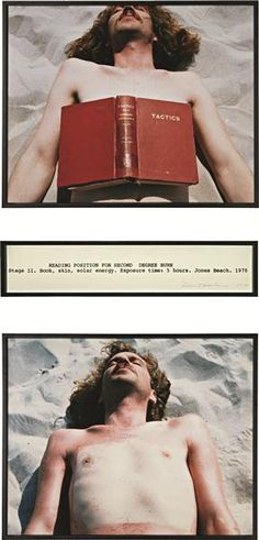 Dennis Oppenheim, Reading Position for Second Degree Burn, 1970 Dennis Oppenheim, John Baldessari, Sensory Art, Jones Beach, Exposure Time, Environmental Art, Land Art, Conceptual Art, Art Plastique