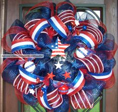 Patriotic Memorial Day 4th of July Deco Mesh Wreath by myfriendbo, $74.00