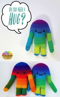 FREE - CROCHET - Hugamonster toy ~ whenever a toddler, child (and maybe some days, adults) need a hug just give this little critter a hug - he'll love it (and so will you - hmm, hmm - toddler or child will) Quick Crochet, Crochet Dolls, Crochet Yarn, Funny Crochet, Kawaii Crochet, Crochet Stitches, Crochet Toys Patterns, Amigurumi Patterns, Stuffed Toys Patterns