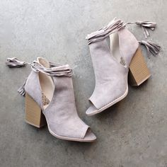 Madelynn suede open toe bootie - taupe