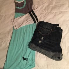 VS PINK 3/4 sleeve top Teal, white, and grey with two black stripes on sleeve. Lightweight. Price is negotiable, please use offer button. Discounts on bundles. Shirts pictured also for sale. Tops