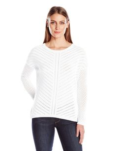 """prAna Women's Parker Sweater, White, Large. """"""""Organic open knit sweater yarn. Dropped back shirttail hem. Drop needle novelty stitch at front and back body with fishnet sleeves."""