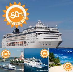 🚢 ¡Vete de #crucero! 🚢 Aprovecha la promoción sólo válida en octubre para viajar en abril o mayo y llévate al ¡segundo pasajero a MITAD DE PRECIO! 💲💲 Tú eliges entre Cuba, el Caribe, el Mediterráneo y el Norte de Europa ❕❕❕