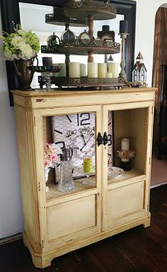 Chalk Paint Curio Cabinet Vintage Yellow Rustic Shabby Cottage Chic Display Case with Chicken Wire Doors