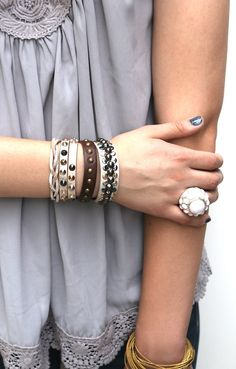 The Magnolia Collection-Genuine Leather Bracelets