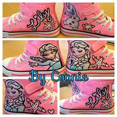 Frozen Elsa Shoes- Pink Sneakers on Etsy, $50.00