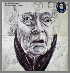 Portrait on Envelope by Mark Powell. Most people keep to traditional way of viewing things, but there are unique people, who have an alternative way of thinking. Mark Powell had discovered another application for old envelopes. The artist uses them as canvas for his drawings. Remarkable fact is that he sketches portraits of elderly, birds, buildings and other scenes with Bic Biro Pen. As Mark Powell lives and works in London some of his drawings depict sights of the city.