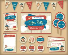 Retro 1950s printable Hen Party or Bachelorette party pack, including invitations, bunting and badges. Alternative hen do. Vintage kitsch design. £10 via Etsy