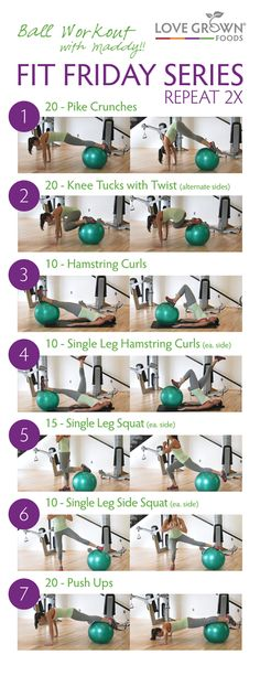 Exercise balls are one of my favorite pieces of gym equipment! There are endless exercises that you can do! These are seven of my favorite moves. Repeat twice (or three times if you are up for the challenge!)! Happy Fit Friday!