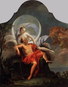 Filippo Lauri, Selene and Endymion, 1650s -- the lover of Selene, the moon, is attributed primarily to Endymion, son of Zeus, who was either a shepherd or an astronomer, which profession provides justification for him to spend time beneath the moon