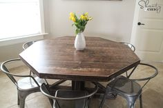 DIY-round-table-with-trusses- Carrington stain