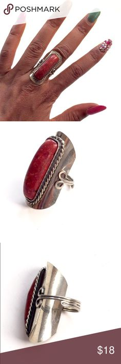 Gemstone ring Just little silver red and orange gemstone bohemian Moroccan ring are styles on my Instagram please check it out @chablee Boho Jewelry Rings
